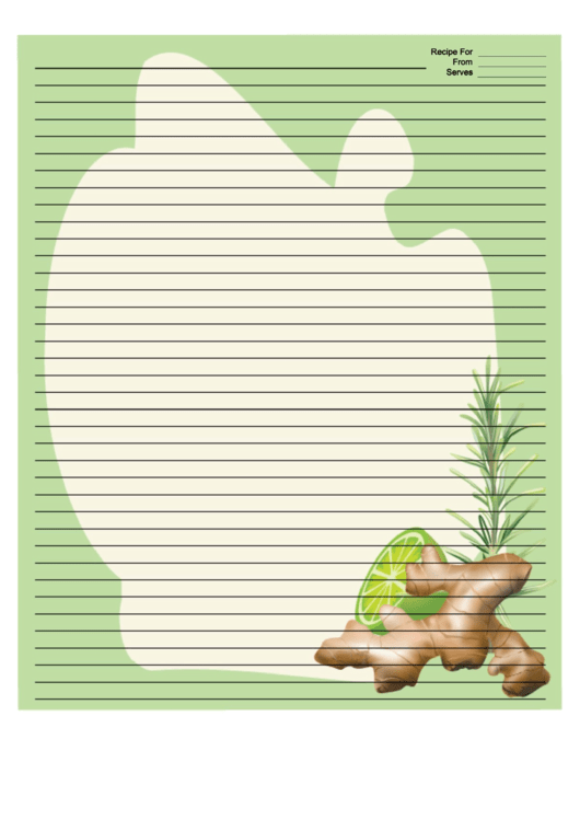 Ginger Green Recipe Card 8x10 Template