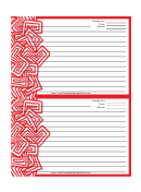 Red Abstract Recipe Card