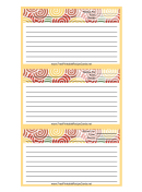 Yellow Curlicues Recipe Card Template
