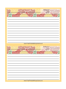 Yellow Curlicues Recipe Card 4x6 Template