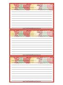 Red Curlicues Recipe Card Template