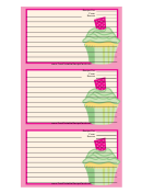 Pink Cupcake Recipe Card Template