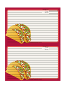 Tacos Recipe Card 4x6 Template