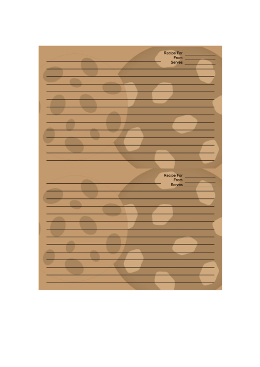 Chocolate Chip Cookies Brown Recipe Card Template ...