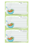 Baby Food Recipe Card Template
