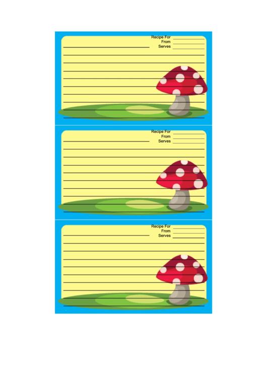 Blue Mushrooms Recipe Card Template