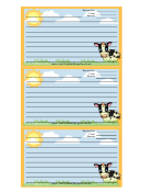 Cows Orange Recipe Card Template