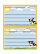 Cows Orange Recipe Card Template 4x6