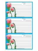 Blue Flowers Recipe Card Template 3x5
