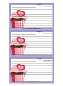 Pink Heart Cupcake Purple Recipe Card Template