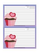 Pink Heart Cupcake Purple Recipe Card Template 4x6