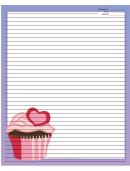 Pink Heart Cupcake Purple Recipe Card 8x10
