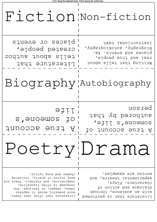 Literary Genres Flash Cards