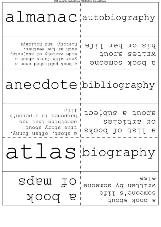 Non-Fiction Works Flash Cards Printable pdf