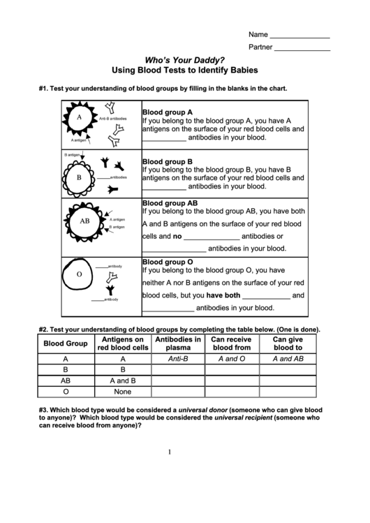 Using Blood Tests To Identify Babies printable pdf download