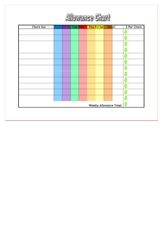 Allowance Chart Template Printable Pdf Download