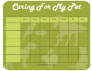 Pet Care Chart Template