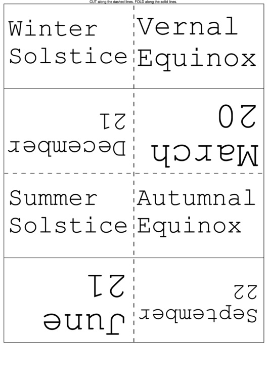 Dates Of Equinoxes And Solstices Flash Cards Printable pdf