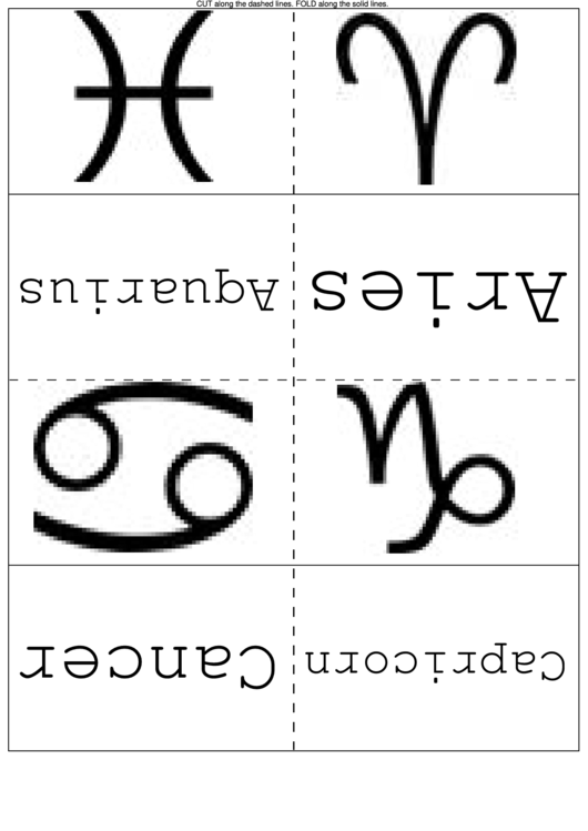 Astrology Symbols Flash Cards printable pdf download