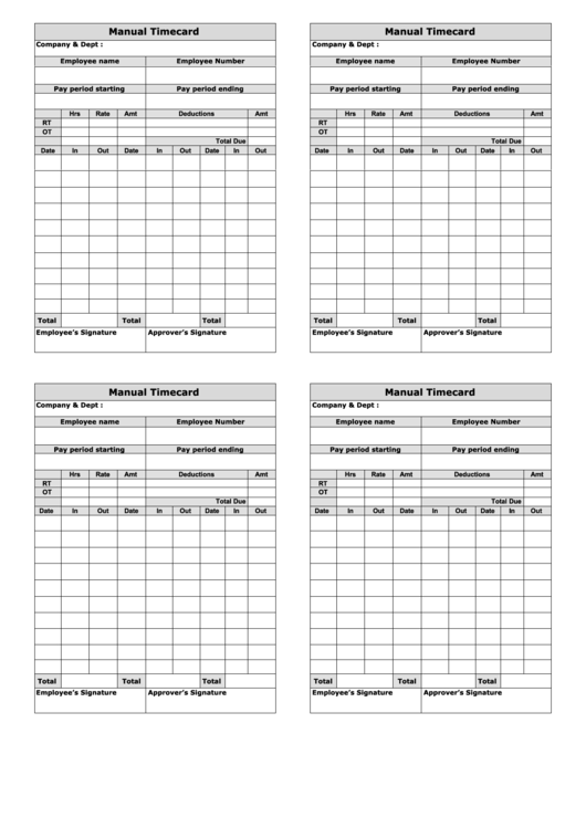 Manual Time Card Template - Four Per Page printable pdf ...