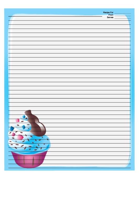 Ice Cream Sprinkles Blue Recipe Card 8x10