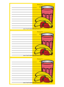 Yellow Banana Smoothie Recipe Card Template