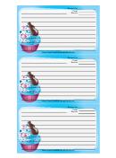 Ice Cream Sprinkles Blue Recipe Card Template