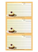 Yellow Dessert Recipe Card Template