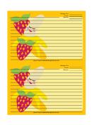 1 Banana 2 Strawberries Yellow Recipe Card Template