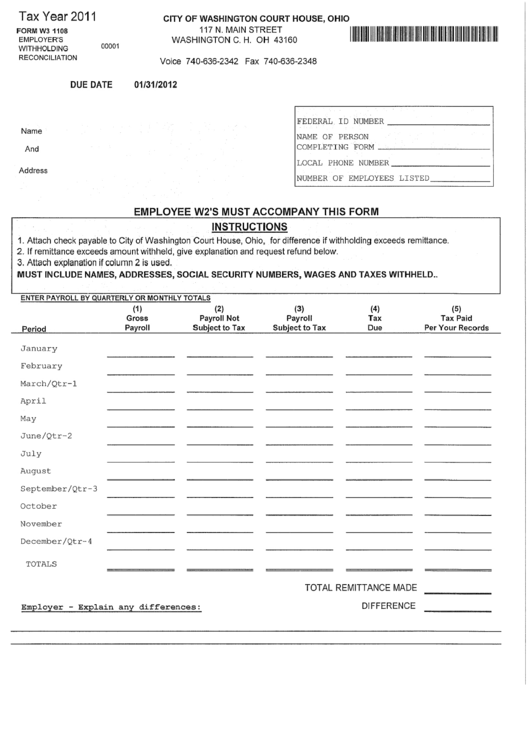 Form W3 1108 - Employer'S Withholding Reconciliation ...