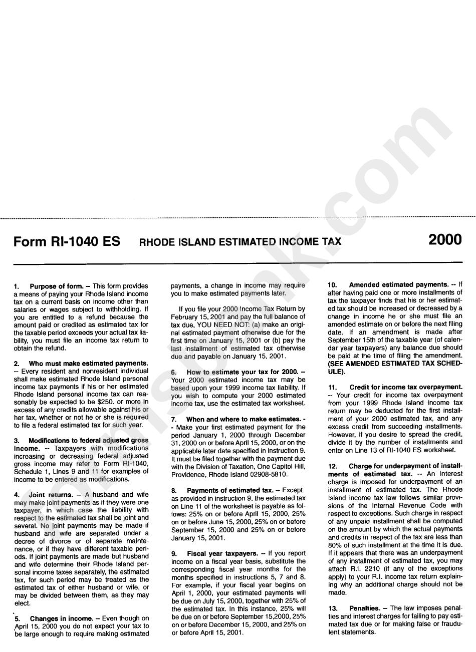 Form Ri 1040 Es Ri Division Of Taxation Payment Voucher 2000