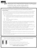 Exemption From Real Estate Taxation For Property Owned By Non-profit Organizations Eligibility Requirements And Instructions - Nyc Department Of Finance