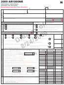 Form Ar1000nr Draft - Arkansas Individual Income Tax Return Nonresident And Part Year Resident - 2009