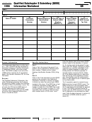 California Schedule Qs - Qualified Subchapter S Subsidiary (qsss) Information Worksheet - 1998