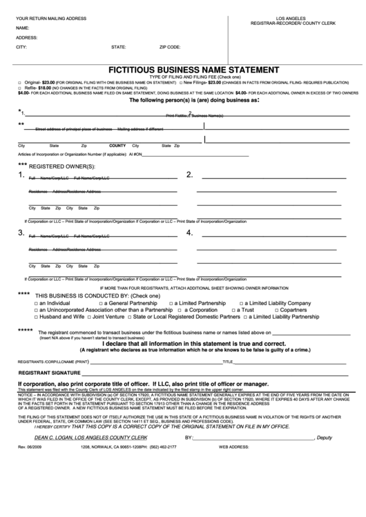 Fictitious Business Name Statement Form - Los Angeles - 2009