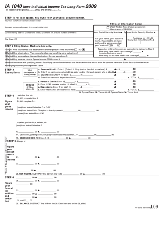 2009 Form 1040 Instructions