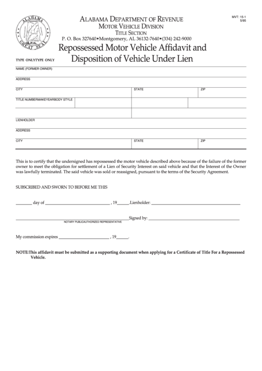 15 Alabama Department Of Revenue Motor Vehicle Division Forms And