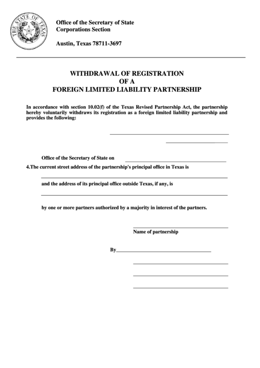 Withdrawal Of Registration Of A Foreign Limited Liability Partnership - Texas Secretary Of State Printable pdf