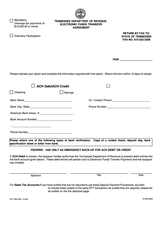 Fillable Form Rv 1959 Tennessee Department Of Revenue Electronic