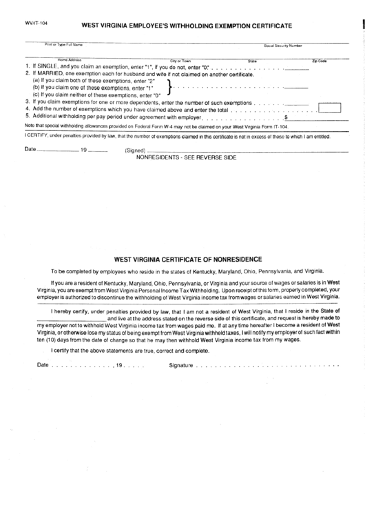 Form Wv/it-104 - West Virginia Employee'S Withholding Exemption