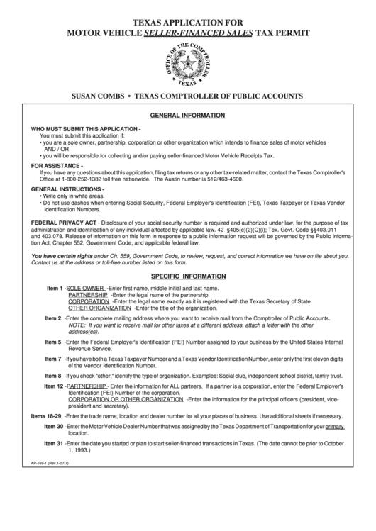 fillable form ap 169 2 texas application for motor vehicle seller financed sales tax permit. Black Bedroom Furniture Sets. Home Design Ideas