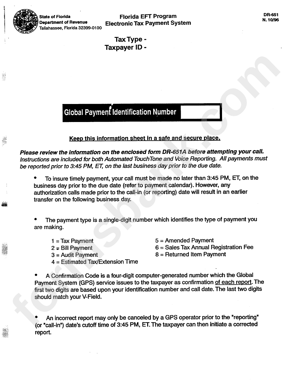 Form Dr-651 - Florida Eft Program Electronic Tax Payment System