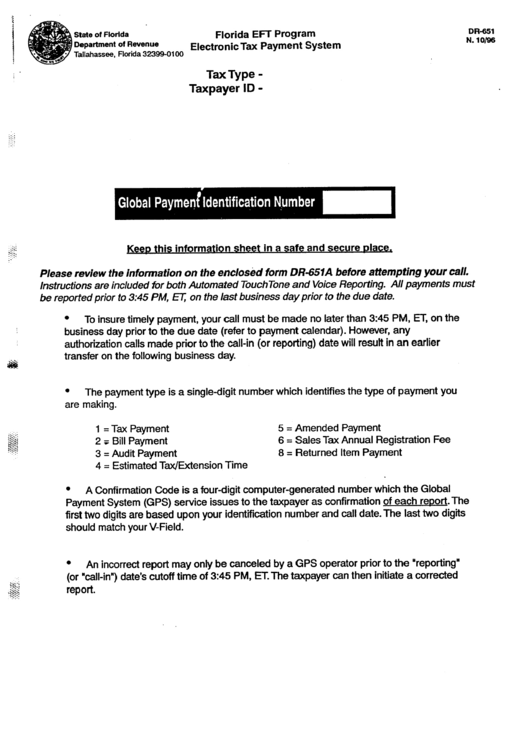 Fillable Form Dr-651 - Florida Eft Program Electronic Tax Payment System Printable pdf
