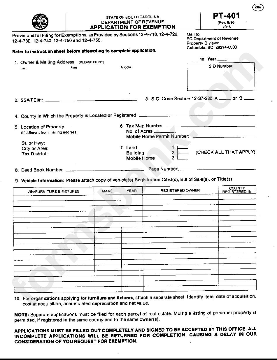 form 401 pt application exemption pdf printable