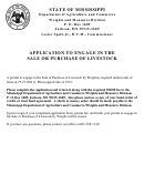 Application To Engage In The Sale Or Purchase Of Livestock