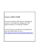 Form 540 C1 Draft - California Resident Income Tax Return - 2010
