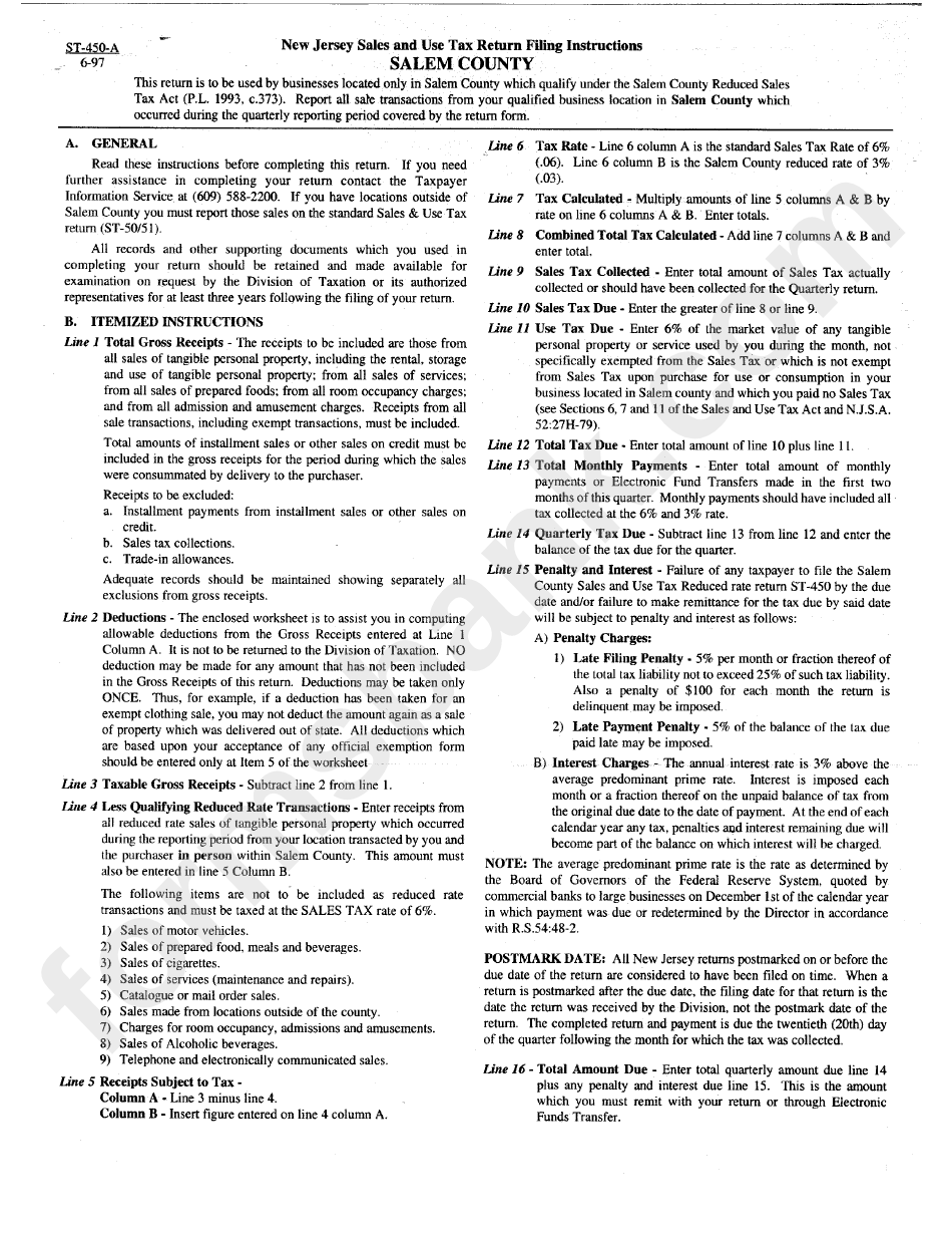 form st 450 a new jersey sales and use tax return filing