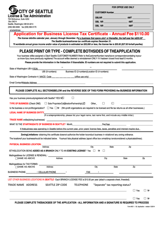 Form 001 Bl Application Application For Business License Tax Certificate Printable Pdf Download