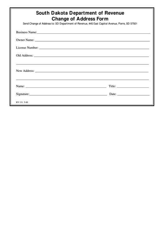 Change Of Address Form - South Dakota Department Of Revenue Printable pdf