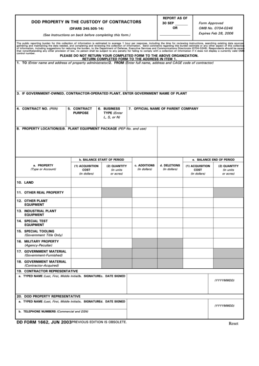Fillable Dd Form 1662 - Dod Property In The Custody Of Contractors - 2003 Printable pdf